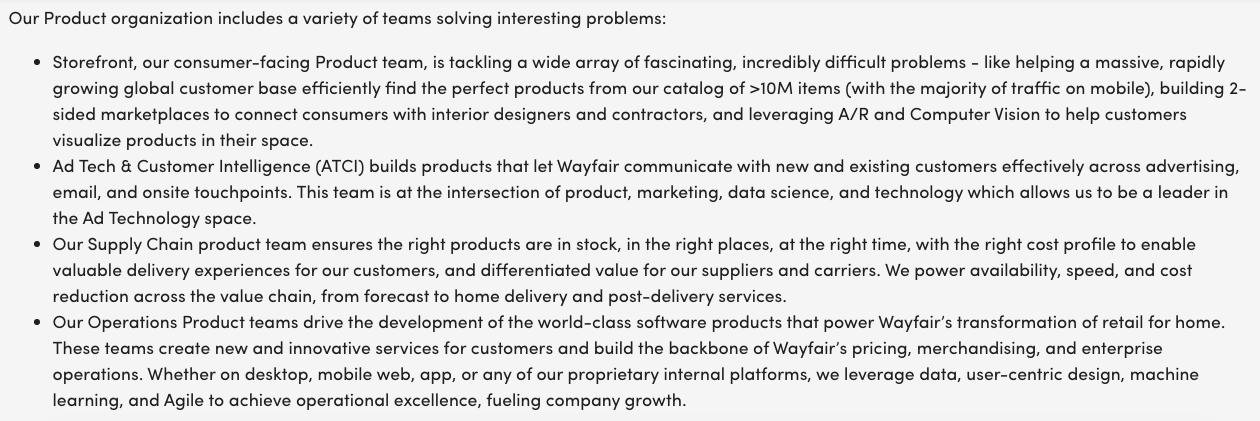 wayfair product manager