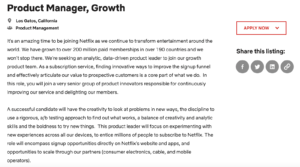 Netflix Product Manager job posting