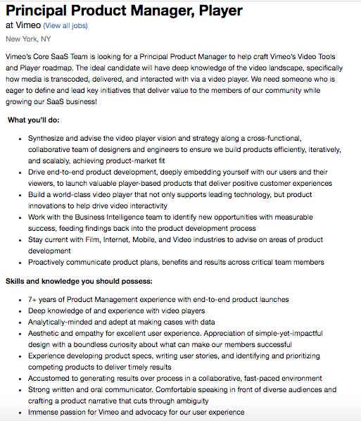 Vimeo product manager job post