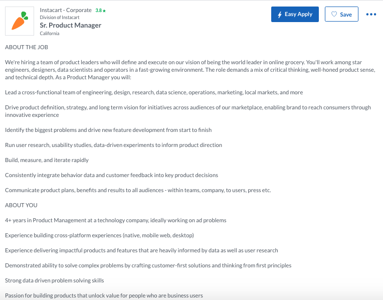 Instacart Product Manager Job